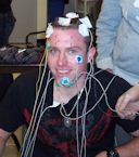Patient wired for sleep study